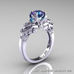 Classic Angel 14K White Gold 1.0 Ct Chrysoberyl Alexandrite Diamond Solitaire Engagement Ring R482-14KWGDAL on Etsy, $1,759.00