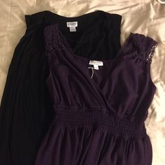 2 bundle maternity tank tops! Plum purple loose tank top with crochet type straps and elastic right below the chest. Should  be washed in a net bag. It's size small. The black tank has loose hanging neckline. It's size large and of course, stretchy. It's motherhood brand. Liz Lange Tops Tank Tops