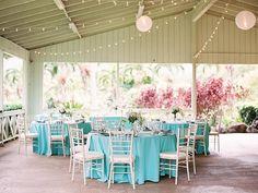 Ocean themed caribbean blue + turquoise beach wedding.  Kualoa Ranch Moli'i Pavilion and Garden Secret Island Oahu Hawaii Beach Wedding Photo | Ashley Goodwin Blog.  Rentals by Pacific party rentals, Honolulu