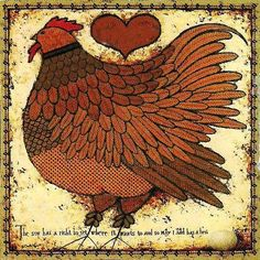 By an enormous stroke of luck, I found this at a flea market - professionally framed and under glass.  It now 'roosts' happily in my kitchen. 'The Sun Has a Right to Set Where it Wants To, and So, May i Add, Has a Hen' ~ Wysocki