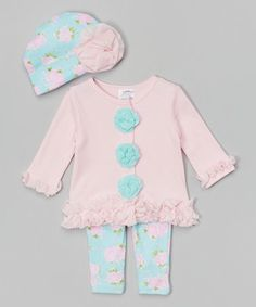 Love this Light Pink & Aqua Tulle Ruffle Cardigan Set - Infant by Baby Essentials on #zulily! #zulilyfinds