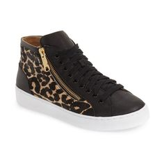 Women's Vionic 'Torri' High Top Sneaker (9,360 INR) ❤ liked on Polyvore featuring shoes, sneakers, tan leopard calf hair, leopard print calf hair shoes, hi tops, vionic, leopard shoes and vionic shoes