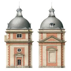 This pair of domed towers, one a dovecote, the other a clock tower, were designed as additions to the venerable Château de Reverseaux (Eure-et-Loir) circa 1810.