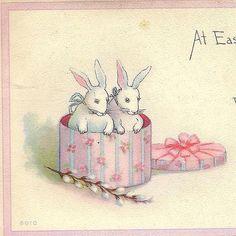 Box of Bunnies on vintage Easter Postcard S by TheOldBarnDoor, $4.00