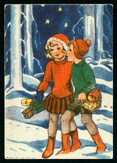 Julkort av Margit Ekstam. Från 1950-talet.