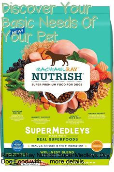 (This is an affiliate pin) Flavor Name:Chicken with Salmon & Superfoods|Size:22 Lb. BagHelp support your dogs total, everyday wellness with a super premium dog food recipe your fur baby will love. Rachael Ray Nutrish SuperMedleys Wellness Blend Chicken & Salmon Recipe dry dog food features real chicken as the #1 ingredient, boosted by a host of superfoods including salmon, sweet potato, barley and chia seeds. Safely cooked in the USA with the worlds finest ingredients, it's a natural… Premium Dog Food, Canned Cat Food, Dry Dog Food, Chia Seeds, Salmon Recipes, Superfoods, Healthy Skin, Sweet Potato, Dog Food Recipes