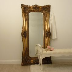Floor Length Double Framed Antiqued Gold Mirror, French Style white bed end stool , romantic dressing room