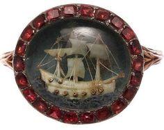 British Admiral Nelson Commemorative Micro Ivory Ship and Garnet Ring - 1790c, English.