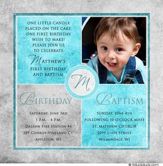 1st birthday and christeningbaptism invitation sample baptism monogram accented birthday baptism card stopboris Images