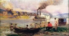 Steamboat On The Ohio by Thomas Pollock Anschutz - Oil Painting Reproduction - BrushWiz.com