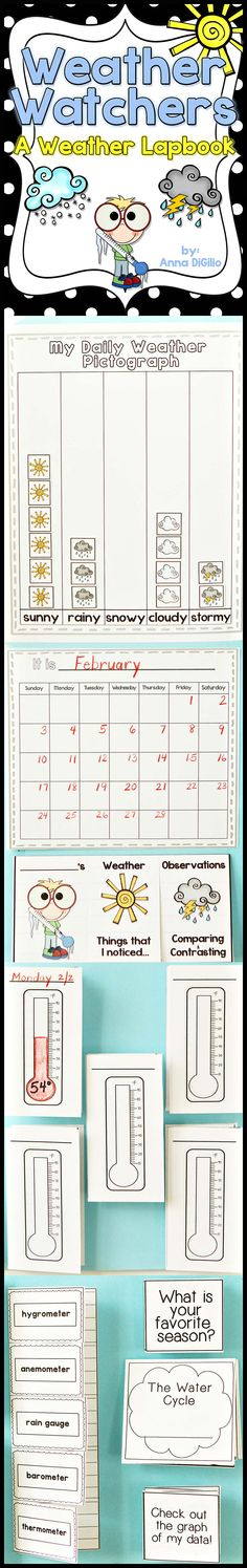 {Grades 1 - Get ready to Freshen up your study of Weather with this Fun and Interactive Lapbook. Primary Science, Preschool Science, Elementary Science, Science Classroom, Teaching Science, Science For Kids, Science Activities, Teaching Weather, Preschool Weather