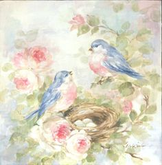 "Romantic Bluebirds and Roses ""Our Nest"" Canvas Print by Debi Coules - Debi Coules Romantic Art"