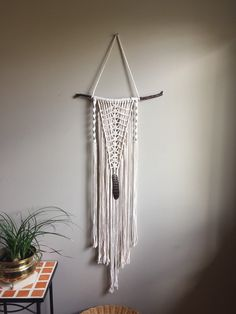 OOAK Macrame Wall Hanging Driftwood Feather by MoonshadowMacrame