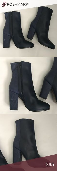 Vince Boots Booties Navy Samples Leather Size 6 These rare Vince navy leather boots booties are in like new condition. They are made in Italy and were only ever used as a sample. The are a few minor scuffs, shown in the photos, but they haven't been worn outside.  Thank you for shopping. Please feel free to contact me with any questions!! Vince Shoes Ankle Boots & Booties