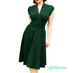 Elegant Deep V Neck Vintage Dress This 50's style dress gives you that elegant but conservative look. Perfect for any occasion.   95% Polyester / 5% Spandex  Machine Washable (cold) ILover Dresses