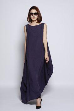 Navy Blue Maxi Dress / Unique Loose fitting Long Dress /Vest Sundress Asymmetric Summer Dress  for Women  - NC690