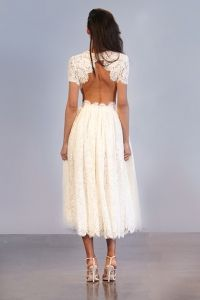 PRINCE: Short Sleeved Guipure Lace Dress With Full Skirt & Open Back & Scalloped Edge Detail
