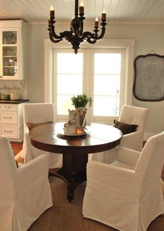 For the Love of a House: Classic dining room design with Ikea Henriksdal slip-covered armchairs, Lowes seagrass ...