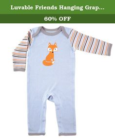 Luvable Friends Hanging Graphic Sleep N Play, Fox, 0-3 Months. Our Luvable Friends layette collection of unique baby clothing and baby care products features 100% cotton fabrics for super-soft touch on your baby's gentle skin. Our graphic sleep n play are the one-piece solution to make day and night easier on mom. Leg snaps make for no fuss dressing and easy diaper changes. Available in 2 color themes and fits up to 9 months.