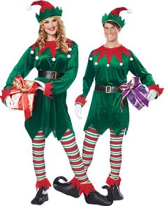 Unisex Santas Helper Elf Costume - Christmas Costumes at Escapade™ UK Adult Elf Costume, Diy Elf Costume, Santa's Helper Costume, Costume Craze, Costume Works, Costume Shop, Diy Costumes, Costumes For Women, L Elf