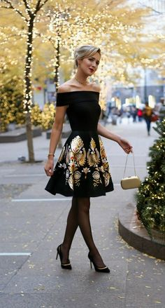 #30DRESSESin30DAYS via /maryorton/ on instagram: classic black off the shoulder fit and flare dress with metallic jacquard skirt, black cut out pointy toe heels. The perfect Christmas or holiday party dress!  Click for complete outfit details and links!