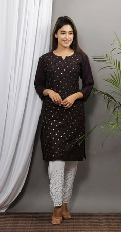Readymade Salwar Kameez, Kurti, Indian Ethnic, Indian Style, Casual Frocks, Designs For Dresses, Hand Embroidery Designs, Indian Designer Wear, Indian Fashion