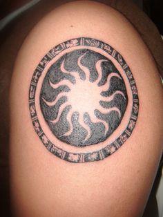 Traditional sun Tattoo - http://16tattoo.com/traditional-sun-tattoo/