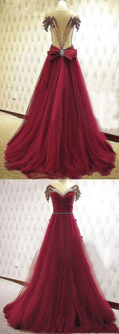 New Style Prom Dresses Long A-Line V-Neck Tulle Burgundy Evening Formal Gowns