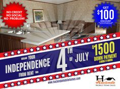 DECLARE YOUR INDEPENDENCE FROM RENT THIS 4TH OF JULY Join us in our BIG INDEPENDENCE SALE throughout the week...