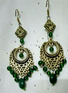 Oxidised gold color chandelier earrings with green bead drops