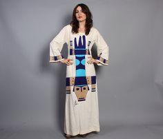 Hey, I found this really awesome Etsy listing at https://www.etsy.com/listing/165594024/60s-novelty-caftan-dress-ethnic-tribal