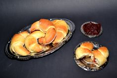 Oldfashioned polish crescent buns with marmalade