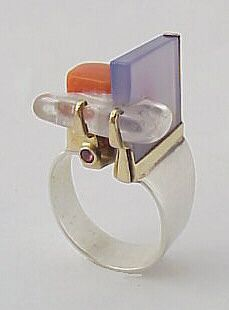 Mary Schimpff-Webb ring: sterling silver, 14k gold, hand cut blue chalcedony, coral, and clear crystal
