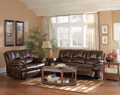 Recliner Sofa Furniture brown leather reclining sofa