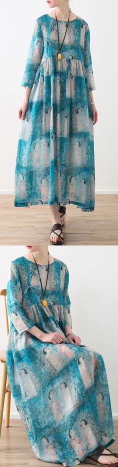 New light blue natural linen dress oversized prints linen clothing dresses Elegant high waist dress3