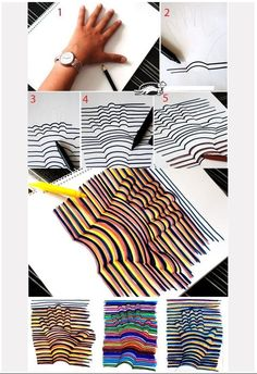 """Op Art Hands OR other rounded objects- lay object down and trace, then draw straight lines behind and curved lines """"over"""" the object Middle School Art, Art School, Grafic Design, Art Club, Art Plastique, Elementary Art, Teaching Art, Art Education, Cool Drawings"""