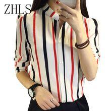 Chiffon Mulheres Blusas V Neck-listrado vermelho preto camiseta coreano Moda…