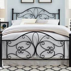 Lark Manor April Open-Frame Headboard and Footboard Size: Queen Bedroom Furniture For Sale, Iron Furniture, King Size Headboard, Headboard And Footboard, Steel Bed Design, Wrought Iron Beds, Bedroom Sets, Bed Frame, Decoration