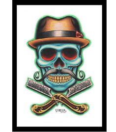 "Barber Skull straight razor by Black Market Art Company. Artwork by Tyler Bredeweg. Art print size 12"" x 18"" (30.5 cm x 45.5 cm)."