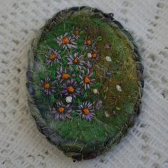 pretty yarn embroidery of Michaelmas daisies on felted background - beautiful!