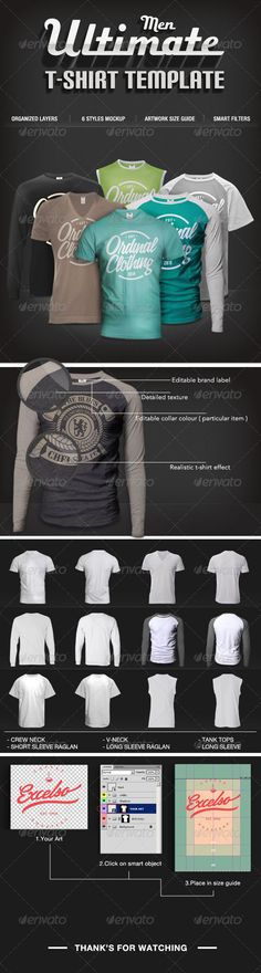 Buy Men T-shirt Mock-Ups Set by mrmustacheart on GraphicRiver. 6 Set of Men t-shirt professional mock-ups. Perfect for professional graphic and t-shirt designers. Also suitable for. T Shirt Design Template, Design Templates, Clothing Labels, Clothing Apparel, Mockup Templates, Templates Free, Shirt Mockup, Colorful Shirts, 3 D