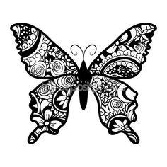Zentangle estilizada mariposa negra — Vector de stock                                                                                                                                                                                 Más