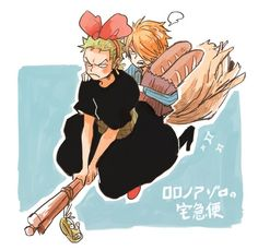 @tanktrunk_mt - Cute Zoro x Sanji crossover with Kiki's Delivery Service