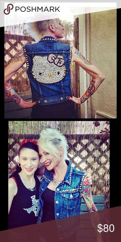 Custom made Rhinestone Hello Kitty denim vest I made this vest myself and really don't want to part with it! Punk, rockabilly, Hello Kitty, pastel goth, lolita timeless piece with rhinestones and silver studs to match any occasion! I wore it to several kids parties and was mobbed by little girls! Ultimate rockin mom vest for Hello Kitty, gothic lolita and Sanrio fans! More pics coming soon! hand made by me! Jackets & Coats Vests