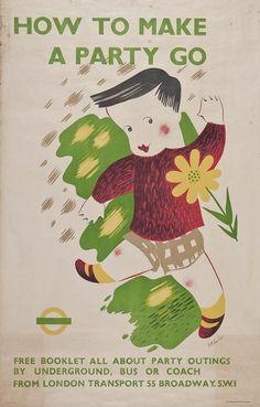 D M Earnshaw vintage London transport poster 1938 party
