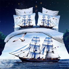 3D Effect-bedding-Home-Textile-Seagull-Pattern-Bed-Sheet