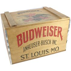 New to Revendeur on Etsy: Vintage Wooden Beer Crate -- Budweiser Beer Crate -- Bicentennial Anheuser Busch Beer Crate -- Large Wooden Box -- Rustic Decor -- CA2835 (75.00 USD)