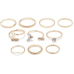 Forever 21 Rhinestone Midi Ring Set ($5.90) ❤ liked on Polyvore featuring jewelry, rings, accessories, polish jewelry, above-knuckle ring, rhinestone jewelry, mid knuckle rings and forever 21 rings
