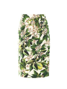 Lemon blossom-print pencil skirt by: DOLCE & GABBANA @Eric Lee Martin Fashion (Global)
