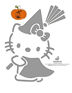 Hello Kitty carved jack o'lantern pumpkin stencil template